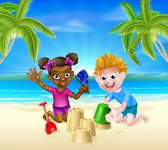 Cartoon Kids on the Beach - stock illustration