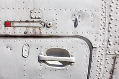 Old white painted aircraft fuselage. Stock Photos