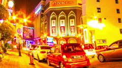 View of the night traffic in Melaka Stock Footage