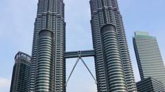 Petronas Twin Towers at Kuala Lumpur Stock Footage