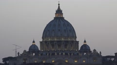 Vatican in Rome, Saint Peter's Cathedral Dome, Cupola in Italy, Sunset View Stock Footage