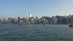 Moving on boat in Victoria Harbour, Hong Kong Stock Footage