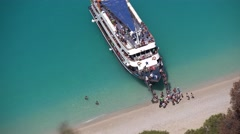 4K Egremni Beach in Lefkada, Greece, Cruise Sailing Trip, People in Boat, Ship Stock Footage