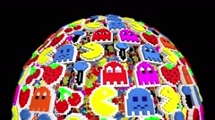 Seamless animated background of elements inspired in Pacman arcade videogame. - stock footage