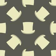 Vintage cylinder hat seamless pattern Stock Illustration