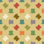 Vintage cylinder hat seamless pattern - stock illustration