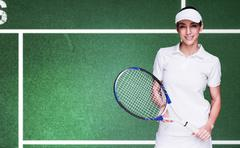 Composite image of female athlete posing with tennis racket - stock photo