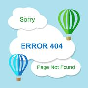 Air balloon with 404 error notification on white clouds - stock illustration