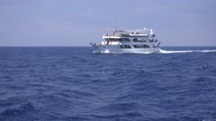 4K People in Ship, Boat Traveling to Tropical Island Beach, Cruise Sailing Sea - stock footage