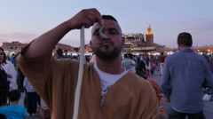 Cobra Snake in Jemaa el-Fnaa of Marrakesh Morocco Stock Footage
