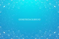 Geometric abstract background with connected line and dots. Graphic backdrop for - stock illustration