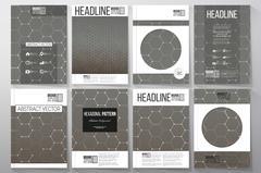 Set of business templates for brochure, flyer or booklet. Chemistry pattern - stock illustration