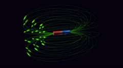 Magnetic field force lines flowing from a magnet. - stock footage