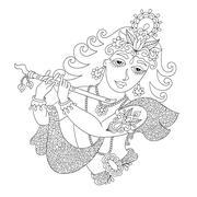 Black and white god lord Krishna for Janmashtami festival Stock Illustration