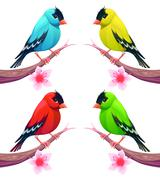 Group of birds in different color tones - stock illustration