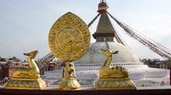 Boudhanath stupa in Kathmandu, Nepal Stock Footage