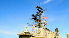 The USS Midway Museum is a maritime museum at Navy Pier in San Diego Stock Footage