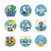 Sea leisure colored detailed flat vector icons set Stock Illustration