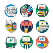 Watching movies detailed color vector icons set - stock illustration