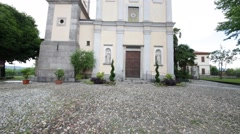 In italy milan  ancient   religion  building    for catholic and clock tower Stock Footage