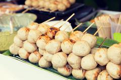 meatballs sale at street market - stock photo