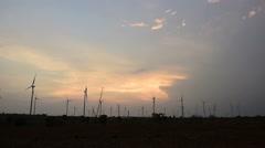 Wind turbine power generator at twilight Stock Footage