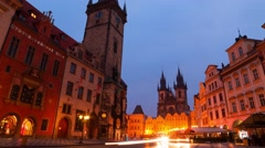 Cloudy Morning at the Old Town Square of Prague. Time Lapse 4K Stock Footage