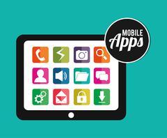 Mobile applications shop entertainment Stock Illustration