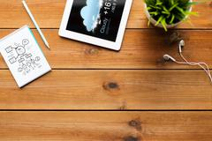 Close up of tablet pc with weather forecast Stock Photos