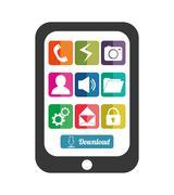 Mobile applications shop entertainment - stock illustration