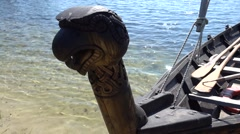 Close up head of landed boat - stock footage