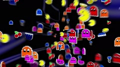 Seamless animated background of elements inspired in Pacman arcade videogame. Stock Footage