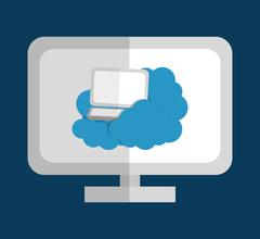 Cloud computing and hosting design - stock illustration