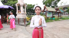 Thai student elementary school, thai Dance in pieamsuwan school Stock Footage