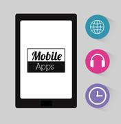 Mobile applications entertainment - stock illustration