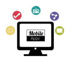 Mobile applications entertainment Stock Illustration