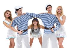 Carnival dancer team dressed as sailors. Isolated on white background in full Stock Photos