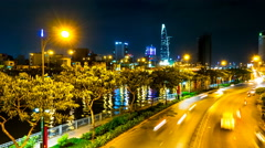 View at the riverside night traffic in the Ho Chi Minh City Stock Footage
