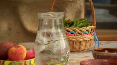 Panorama On The Jug And Fruit Stock Footage