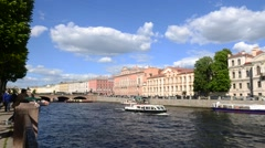 The Fontanka River Embankment in Saint Petersburg – Russia - stock footage