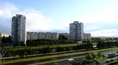 Soviet-era high-rises of Vasilievsky Island, Saint Petersburg , Russia. Stock Footage