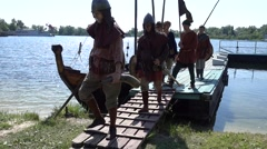 Medieval Slavic crew landed Stock Footage