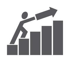 Man pushing trend up Stock Illustration