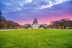 Sunrise over United States Capitol - stock photo