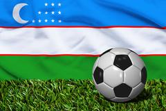 Soccer Ball on Grass with Uzbekistan Flag Background, 3D Rendering Stock Illustration