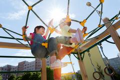 group of happy kids on children playground - stock photo
