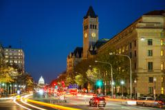 Pennsylvania Avenue at night, Washington DC, USA - stock photo