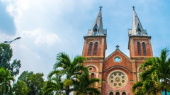 View of the Notre-Dame Cathedral in Ho Chi Minh City Stock Footage
