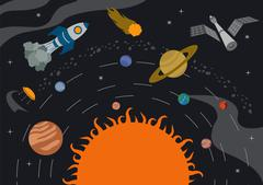 Space, universe graphic design. Banners, layot, flyer templates Stock Illustration