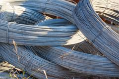Rolls of steel wire - stock photo